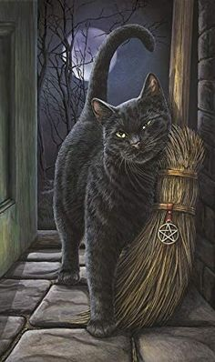 Black Cat Wall Plaque Art Print Lisa Parker Brush With Magick - Black Cat with Broom Besom Halloween Pictures, Halloween Cat, Crazy Cat Lady, Crazy Cats, I Love Cats, Cute Cats, Black Cat Art, Black Cats, Frida Art