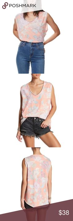 """We The Free Orange Combo Gardenia Hi-Lo Muscle Tee //We The Free from Free People //NWT, never worn! //super soft 46% polyester, 39% cotton, 15% rayon blend //scoop neck, hi-low hem //raw edge style //cap sleeves  Model's stats for sizing: - Height: 5'9"""" - Bust: 34"""" - Waist: 23"""" - Hips: 34.5"""" Model is wearing size M.  //smoke free home, but pet friendly! //no trades! //@_poshfox  **Full photos coming soon! Free People Tops Muscle Tees"""