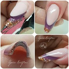 Did she cut the form for tighter curve or did she pinch Funky Nail Art, Funky Nails, Art Deco Nails, Luminous Nails, Manicure, Nail Techniques, Edge Nails, Nail Art For Beginners, Gel Acrylic Nails