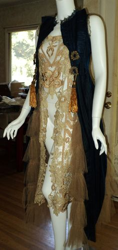 Victorian Silk Velvet Coat Vest Couture Metallic trim with Tales and Ruffled Netting Steampunk Bellasoiree Original. $1,500.00, via Etsy.