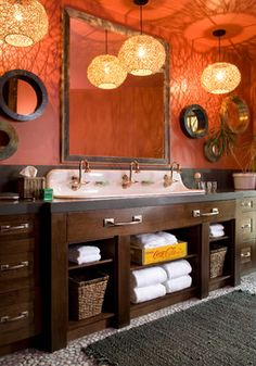 Great Idea for a house full of kids or camp bathroom. Eclectic Home Design Ideas, Pictures, Remodel and Decor