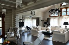 design of wooden houses Little Log Cabin, Best Interior, Interior Design, Living Spaces, Living Room, White Cottage, House In The Woods, House Rooms, Log Homes