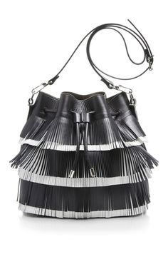 Black Leather Bucket Bag With Two Toned Fringe by PROENZA SCHOULER Now Available on Moda Operandi