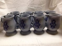 SET of 8 vintage Royal Haeger 4212 Pottery Coffee Mugs Made in US Lite Blue-Gray