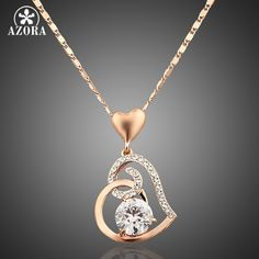 AZORA Rose Gold Plated Stellux Crystals Heart Pendant Necklace //Price: $14.37 & FREE Shipping Coupon Code #INSTA10