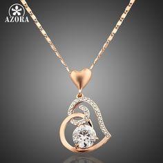 Azora stellux cristales corazón colgante, collar de oro rosa de color para el regalo del día de san valentín de amor tn0009