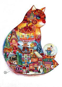 christmas cat 2015 - Peinture, 45x61 cm ©2015 par Oxana Zaika - Art déco, Classicisme, Papier, Animaux, Chats, Cultures du monde, Paysage, christmas, cat, chat, chats, noel