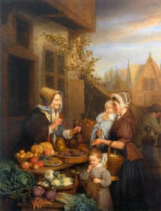 """Frans Josef Luckx (1802-1849)""""At The Vegetable Market""""Oil on panel, -1843"""