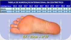 Tabela de tamanho de calçados adulto. (Brasil)