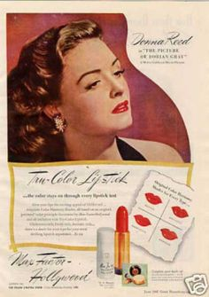 Max Factor Hollywood Lipstick Donna Reed 1945 print Ad in Collectibles, Advertising, Health & Beauty Vintage Makeup Ads, Vintage Beauty, Vintage Ads, Vintage Glamour, Vintage Posters, Donna Reed, Retro Advertising, Vintage Advertisements, Max Factor Lipstick
