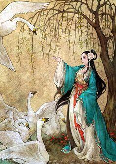 "South Korean illustrator Obsidian (also known as Huk-yo-suk) ""Swan princess"""