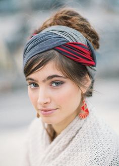 "Gray & Red Striped ""Infinity"" Style Half Head Covering - New Arrivals 