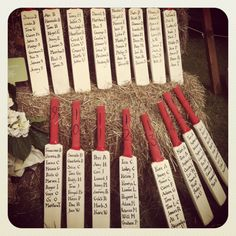 Something a little different - a wedding seating plan made using cricket bats! I guess you could do this with any sport! footballs, sports shirts, sports shoes, cricket bats etc. Wedding Favours, Wedding Centerpieces, Diy Wedding, Wedding Ideas, Wedding Stuff, Wedding Inspiration, Wedding Table Planner, Wedding Planning, Seating Plan Wedding