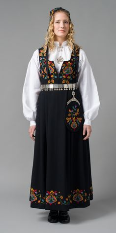 """""""Den gamle Valdresbunaden (The old Valdres bunad"""" in black from Valdres, Oppland, Norway (It is also made in blue, but I haven't found a picture)"""