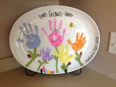 Mother's Day plate we made with handprints and thumbprints!