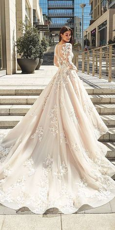 24 Unique Lace Wedding Dresses That Wow ❤ unique lace wedding dresses ball gown with illusion back long sleeves buttons beige eddyk bridal ❤ Full gallery: https://weddingdressesguide.com/unique-lace-wedding-dresses/ #bride #wedding #bridalgown