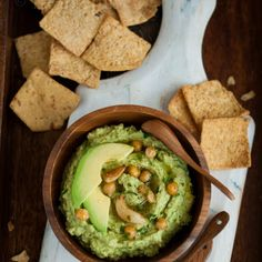 Avocado hummus. Made this with slight adjustments and it was amazing! I used a while can if chickpeas and subbed dried cilantro for fresh.