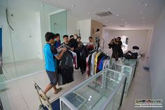 Mountain guides start to fill the dive shop with the equipment!