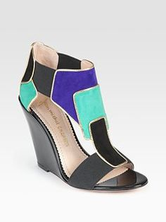 Jean-Michel Cazabat  Petra Mixed-Media Colorblock Wedge Sandals