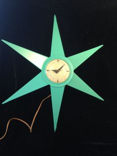 Vintage Bilt Rite 50s 60s Mid Century Modern Aqua Starburst Sunburst Wall Clock