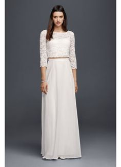 Lace Wedding Crop Top with 3/4 Length Sleeves 183599DB