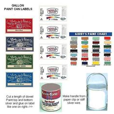 Paint can labels and tutorial - make a messy pile of paint supplies in a corner of the attic (Note: Link leads to membership site but image can be saved directly from pin)| Source: Casmunimprimables
