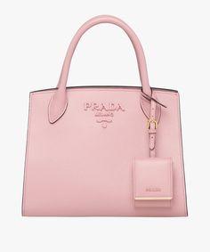 77f5e69373a0 Prada Monochrome Saffiano leather bag Prada PEACH Logo Line