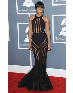 Kelly Rowland en robe transparente