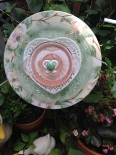 Dogwood plate with green Princess glass, white heart and pink depression glass bowl. SOLD at Galveston Island Market  MiMi's Plate Flowers