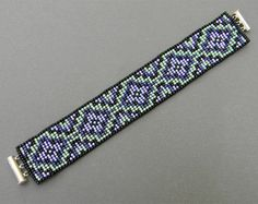 Purple and mint beaded cuff  beadwoven bracelet by Anabel27shop,
