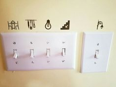 Label your light switches home idea vinyl cricut. good idea for kids sight words Command Hooks, Rental Decorating, Home Hacks, First Home, Organizer, Home Interior, Home Organization, My Dream Home, Home Projects