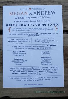 {DIY Wedding Programs} - love this idea! and it's cute and fun, not super formal, and everyone will know who is who!