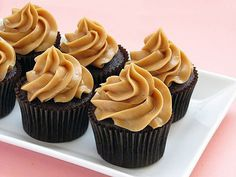 Dark Chocolate Cupcakes with Peanut Butter Mousse Frosting