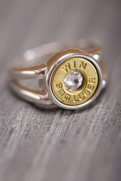 Silver Bullet Ring - Bourbon & Boots Like! Scrap the CZ and leave me the primer strike. Cute Jewelry, Jewelry Box, Jewelry Accessories, Jewelry Making, Jewlery, Bullet Ring, Bullet Jewelry, Bourbon And Boots, Silver Bullet