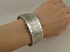 Antique Victorian Fancy 'Ferns' Silver Cuff Bangle - Full English Hallmarks