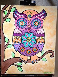 Hand painted owl canvas art 22x28 by Isabelacreations on Etsy, $100.00