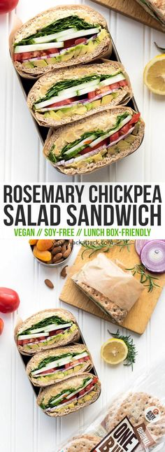 Rosemary Chickpea Salad Sandwich: Here's a back-to-school-ready lunch idea that's easy and delicious! Made with whole grain, #Ozery One Buns! #vegan #soyfree #nutfree #ad #OBcreations