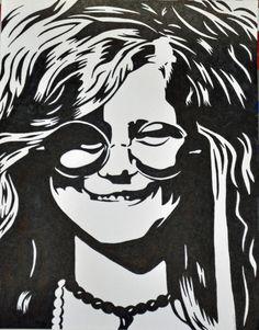 I want you to come on, come on, come on, come on and take it Take another little piece of my heart now, Sharpie! Add a bit Rock & Roll History Janis Joplin, Stencil Patterns, Stencil Art, Stenciling, Rock And Roll History, Sharpie Drawings, Music Artwork, Airbrush, Fantastic Art