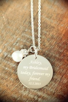 3 Personalized Engraved Bridesmaids Necklaces, Custom Wedding Jewelry, 925 Sterling Silver #BridesmaidsJewelry #EngravedJewelry #WeddingJewelry