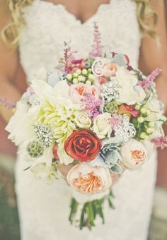 Colorful Bouquet With Crystal Accents | Connection Photography https://www.theknot.com/marketplace/connection-photography-locust-nc-496035 | Swan Island Dahlias https://www.theknot.com/marketplace/swan-island-dahlias-canby-or-417789