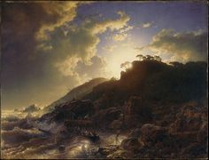 "Andreas Achenbach: ""Sunset after a Storm on the Coast of Sicily"", 1853, :Oil on canvas, Dimensions:32 3/4 x 42 1/4 in. (83.2 x 107.3 cm),  The Met."