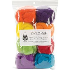 Wistyria Editions Wool Roving, Fiesta, This top quality roving contains no lumps or over-dyed areas and measures approximately 12 Inch long This package contains eight colors Roving balls come in a handy reusable zippered pouch Wood Crafts, Fun Crafts, Needle Felting Supplies, Needlework Shops, Red Grapes, Arts And Crafts Supplies, Wet Felting, Yarn Colors, Sewing Stores
