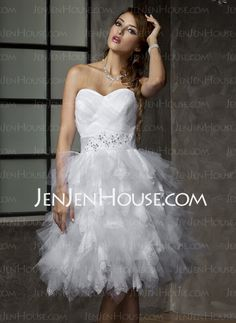 Wedding Dresses - $154.09 - A-Line/Princess Sweetheart Short/Mini Satin  Tulle Wedding Dresses With Ruffle  Beadwork (002012778) http://jenjenhouse.com/A-line-Princess-Sweetheart-Short-Mini-Satin--Tulle-Wedding-Dresses-With-Ruffle--Beadwork-002012778-g12778