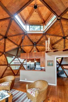 "This is a hand built geodesic dome cabin inspired by Buckminster Fuller in Lafayette, California. It took the original owners 7 years to build! According to Zillow, it's a ""3-sphere, 2-…"