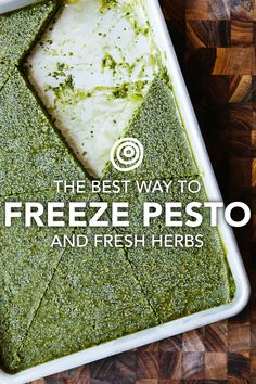 Quit freezing your pesto in ice cube trays! This tip is EASY and you can break off just as much as you need for faster cooking. Excellent way to preserve fresh herbs like basil, cilantro and parsley.