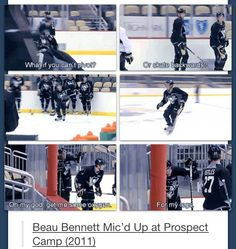 "Beau Bennett -- ""Oh my god. Get me some oxygen for my legs. This boy kills me! Hockey Memes, Hockey Quotes, Funny Hockey, Hockey Baby, Ice Hockey, Hockey Girls, Boys, Beau Bennett, Blackhawks Hockey"