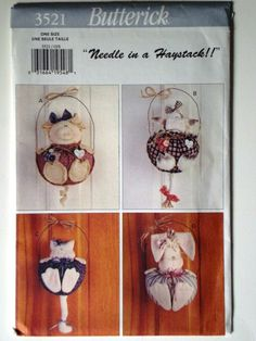 Butterick 3521 Needle in a Haystack Pattern for Pig, Cow, Cat and Bunny. Uncut