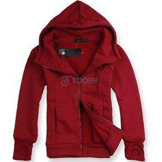 Woolen Red Full Zip Hoodie With Gloves via Polyvore