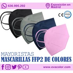 Mascarillas higienicas FFP2 de colores. Talla adulto. ··· #ffp2 #mascarillas #proteccion #higiene