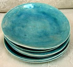 Side/salad plates, stoneware plates, set of 6 aqua crackle glazed